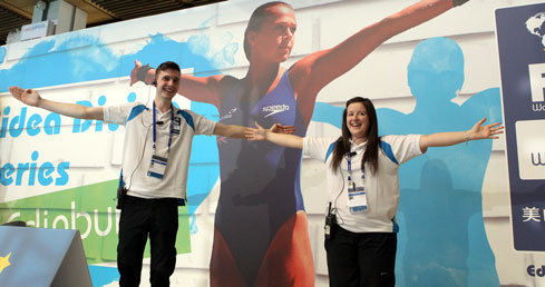 Alex Harrison Volunteering Stories. Alex volunteering at the 2013 FINA Diving World Series in Edinburgh