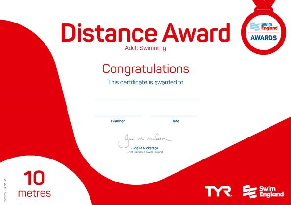 Adult Distance Award 10 metres
