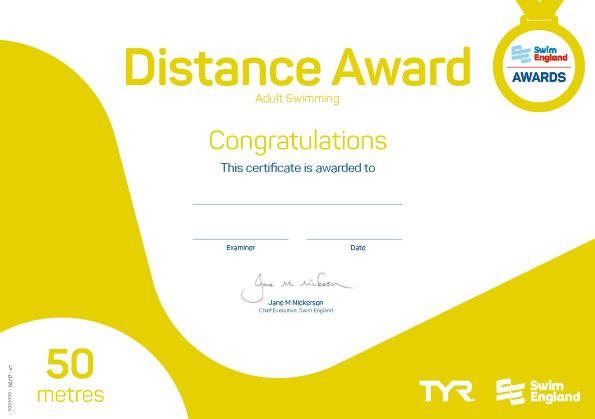 Adult Distance Award 50 metres