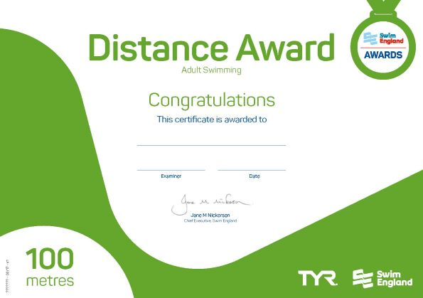 Adult Distance Award 100 metres