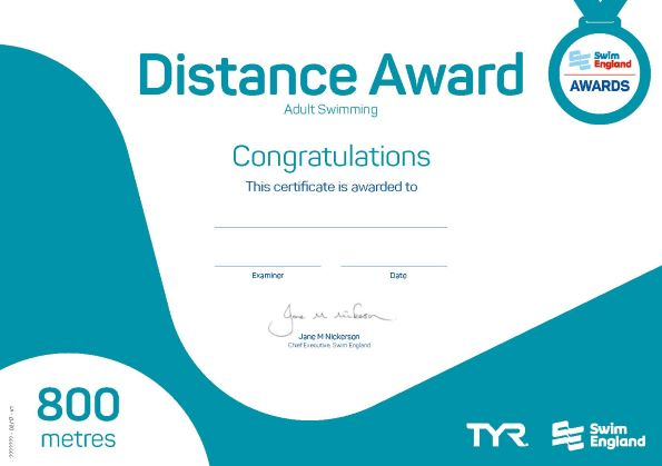 Adult Distance Award 800 metres