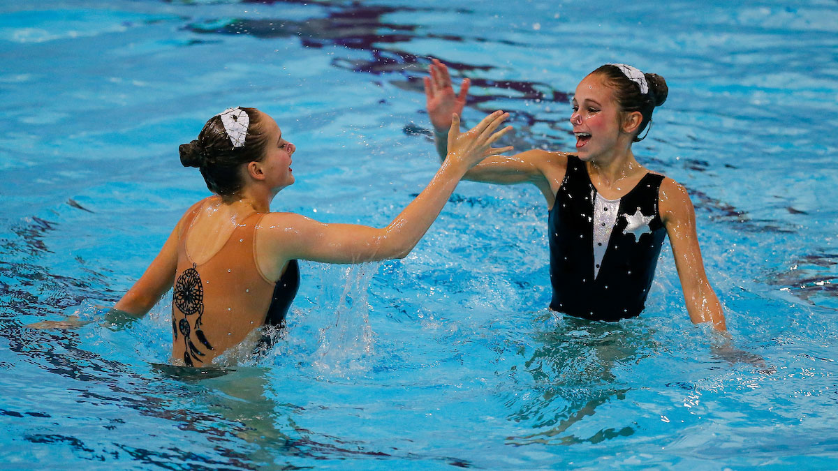 Mimi Gray and Alyssa Basinger performing their duet routine at the 2015 ASA National Age Group Synchronised Swimming Championships