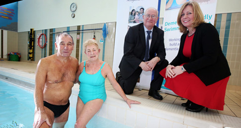Poolside photo of swimmers involved in the Dementia Friendly swimming project which has partnered with Durham County Council.