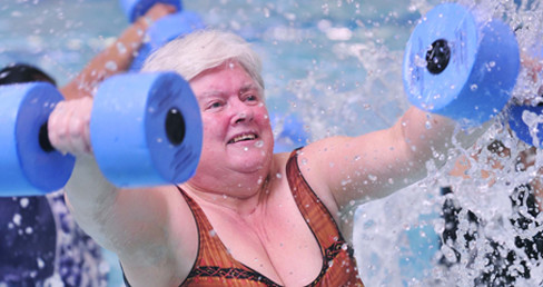 Lady exercising in the pool for Dementia Awareness Week 2016