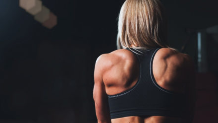 Swim and gym routine to exercise shoulders and lats