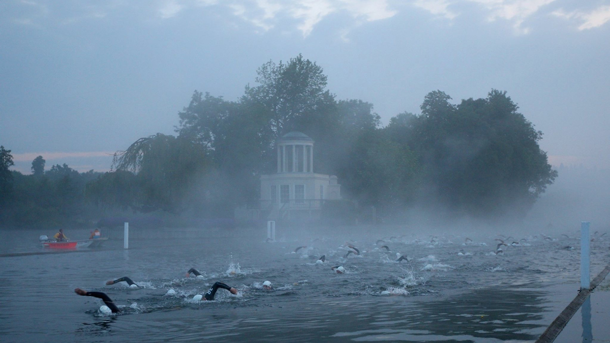 Mist rises over the Henley Classic open water swim 2016.