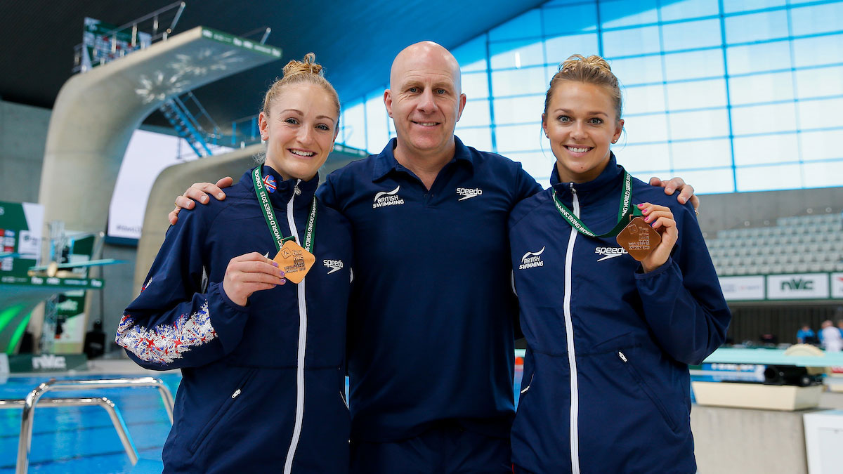 Sarah Barrow, Tonia Couch and Andy Banks at the FINA Diving World Series in London