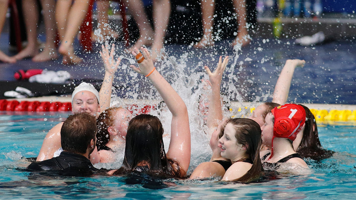 City of Manchester celebrate winning the girls' U19 title at the NAG Water Polo Championships 2015
