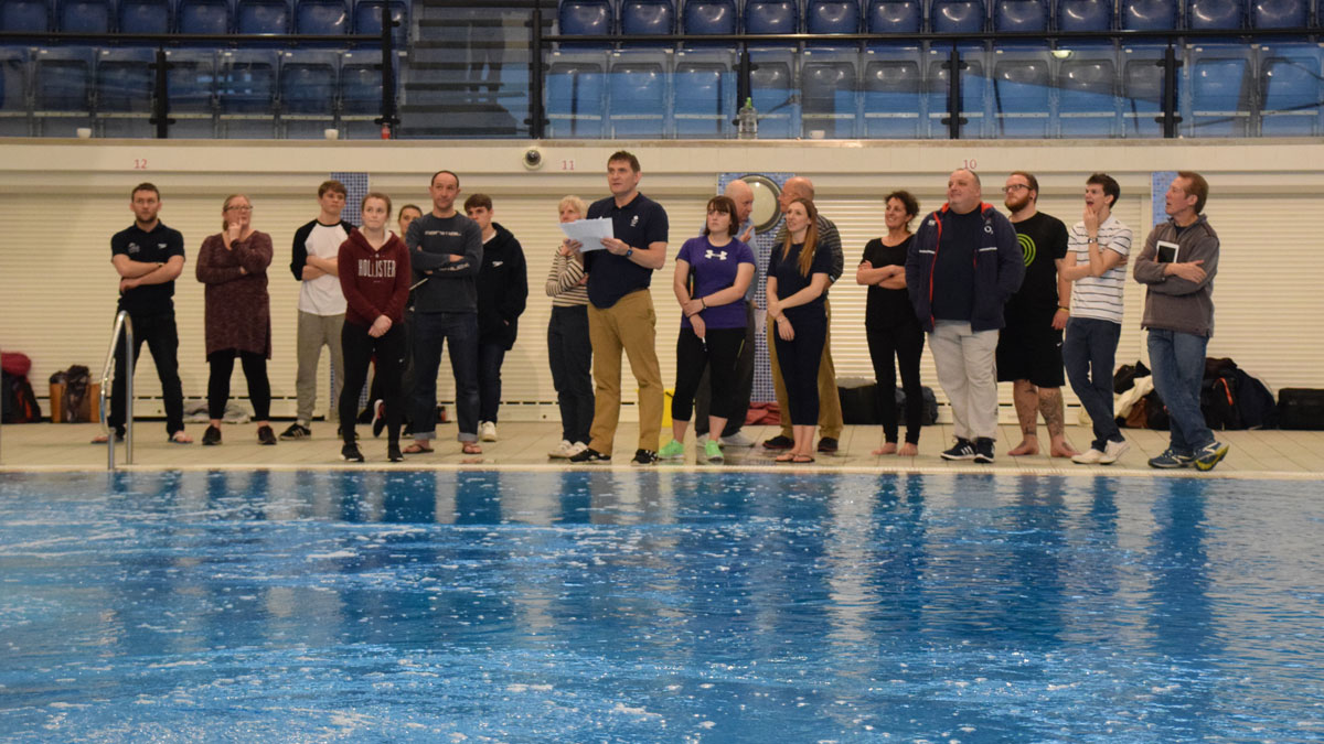 Ady Hinchliffe taking a pool session at a coaching conference in 2017