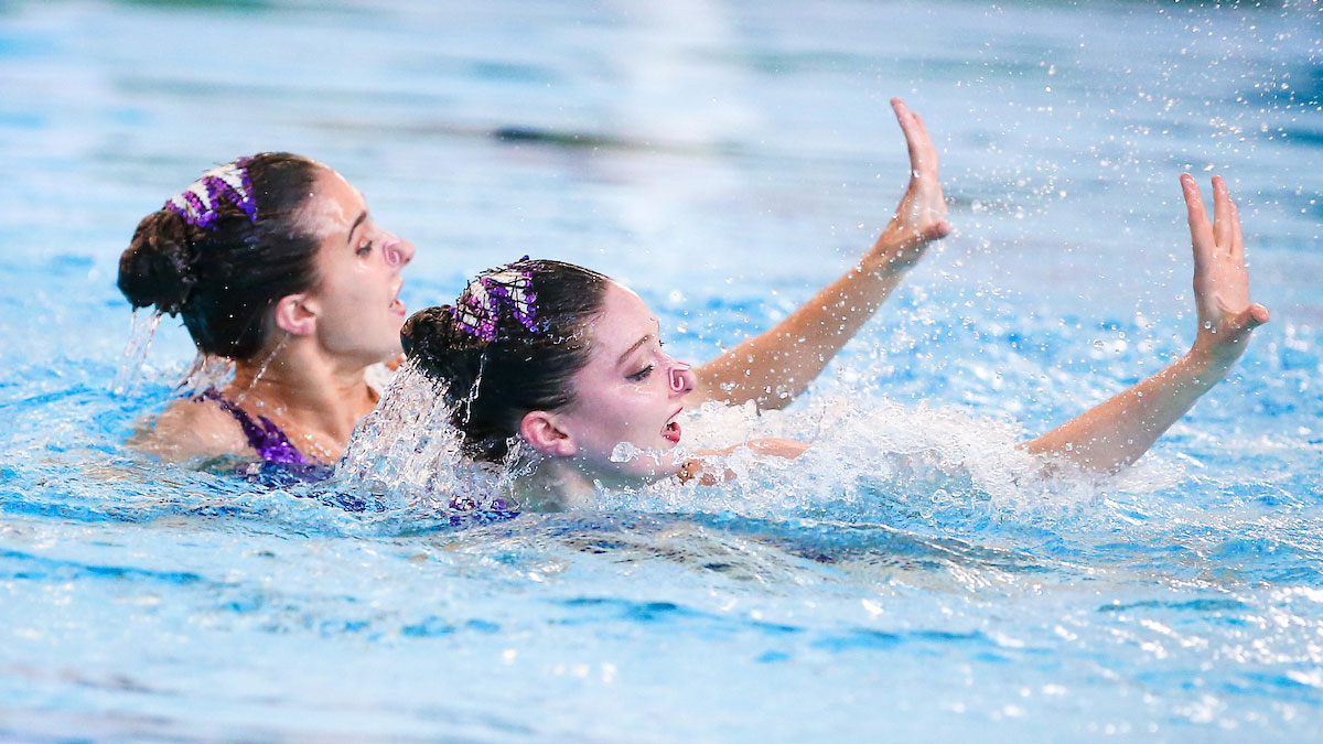 Olivia Federici and Katie Clark performing their Duet Tech routine from the 2016 ASA National Synchronised Swimming Championships