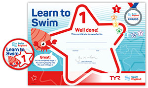 Swim England Learn to Swim certificate and badge