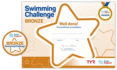 Swim England Swimming Challenge certificate and badge