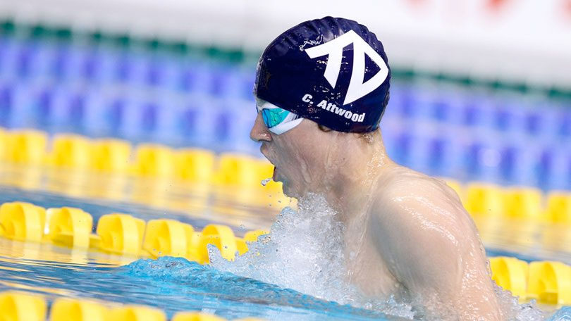 Charlie Attwood swimming for Taunton Deane swimming at the 2014 National Youth Championships