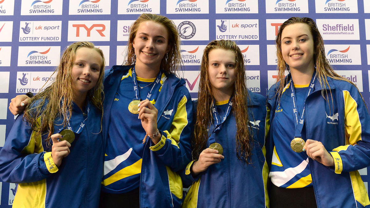 City of Leeds relay quartet at British Summer Champs 2017