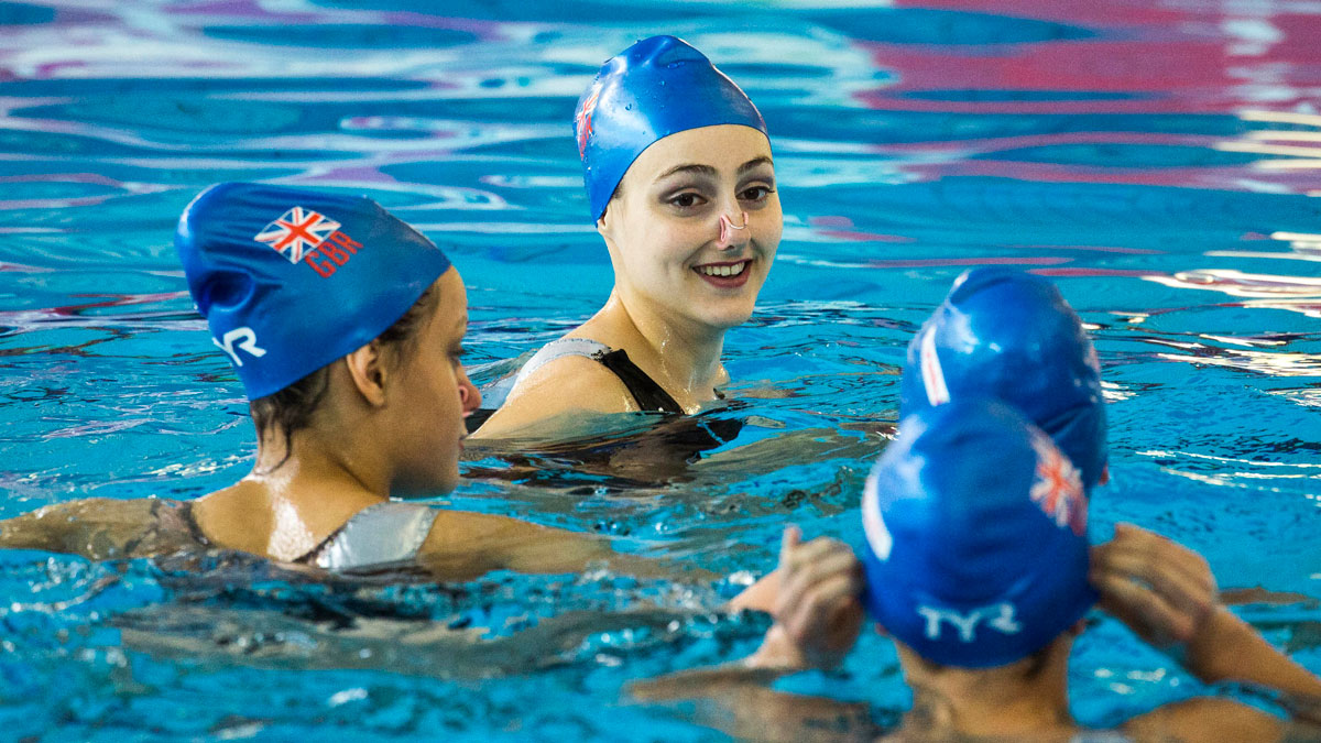 British synchronised swimmers training in the water
