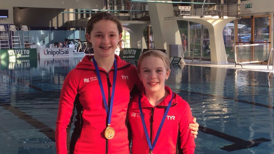 Callie Eaglestone and Summer Radcliffe with medals from the Mediterranean Cup 2017