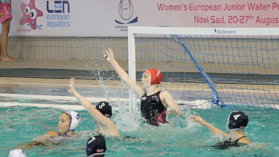 British goalkeeper Sophie Jackson makes a save against Slovakia at the 2017 European Junior Water Polo Championships.