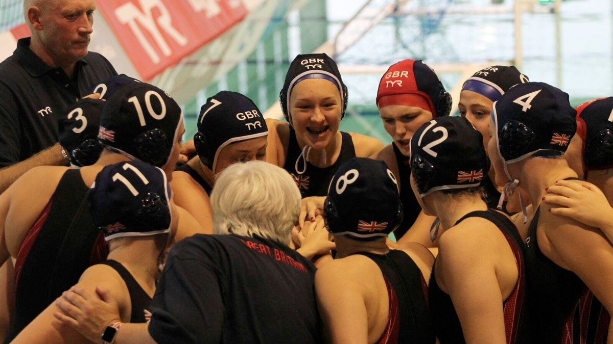 British team huddle against Greece in the European Junior Water Polo Championships 2017