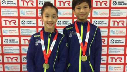 Kadrok and Khairul win 12yrs and under Mixed Duet gold