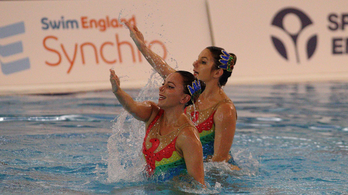 Louise Chambers and Laura Gee performing their free duet routine at the Swim England Synchro National Masters Championships 2017