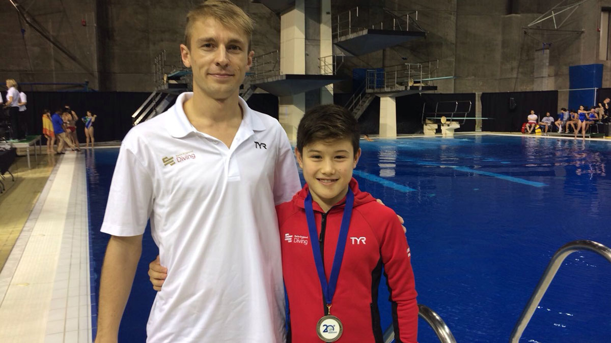 Leon Baker with coach Jack Clewlow after winning silver at the CAMO Invitational in Montreal
