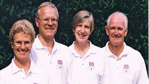 Anthony Gimson with teammates from the world record-breaking relay quartet