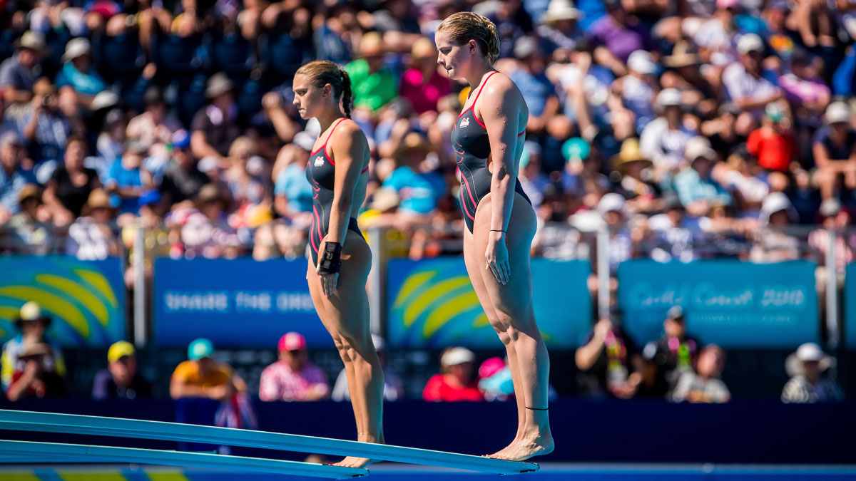 Alicia Blagg and Katherine Torrance competing in the 3m Synchro at the Gold Coast 2018 Commonwealth Games