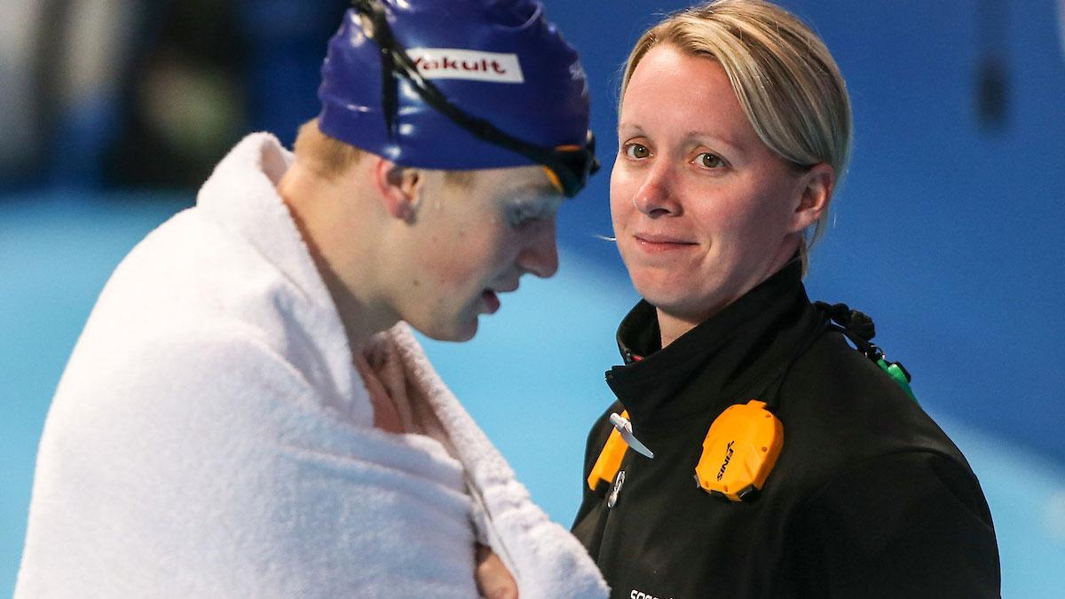 Swimming coach Mel Marshall with Olympic gold medallist Adam Peaty
