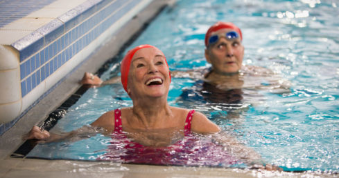 Swimmer with dementia smiling