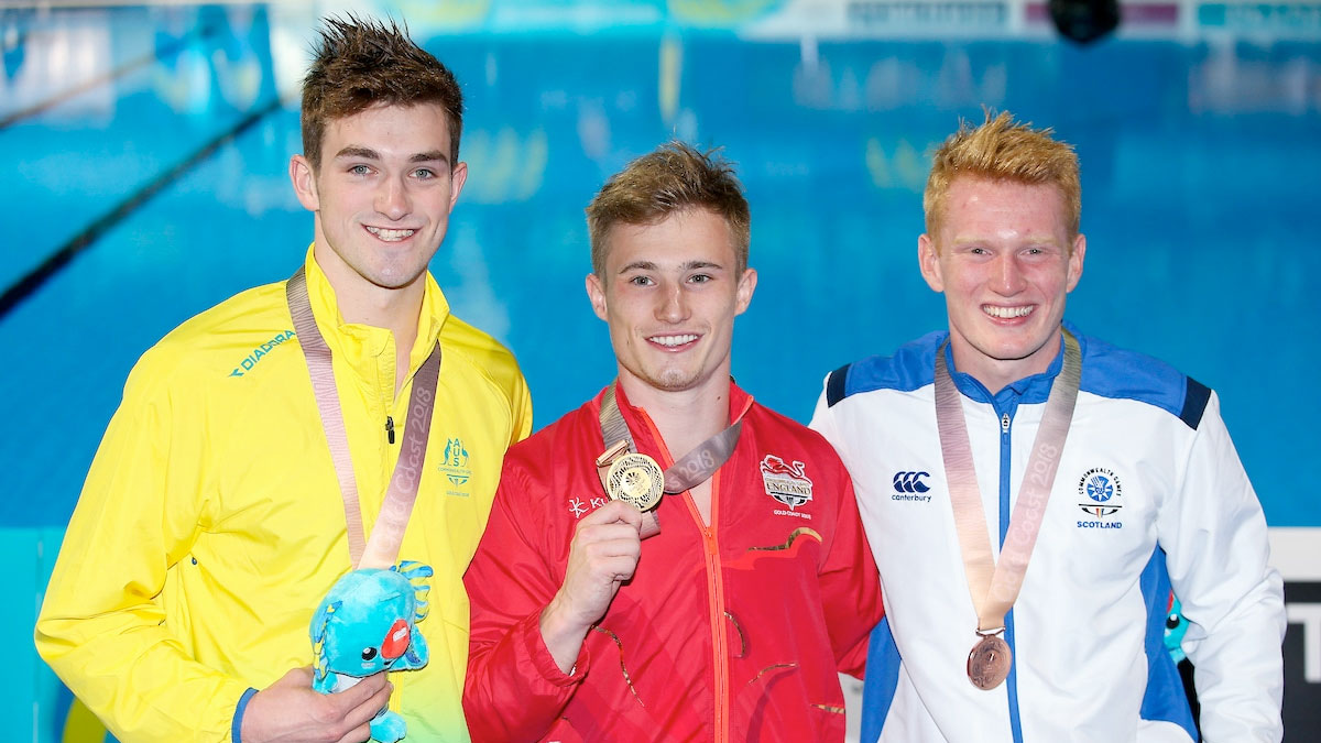 Jack Laugher on the podium at the Gold Coast 2018 Commonwealth Games after winning 1m gold