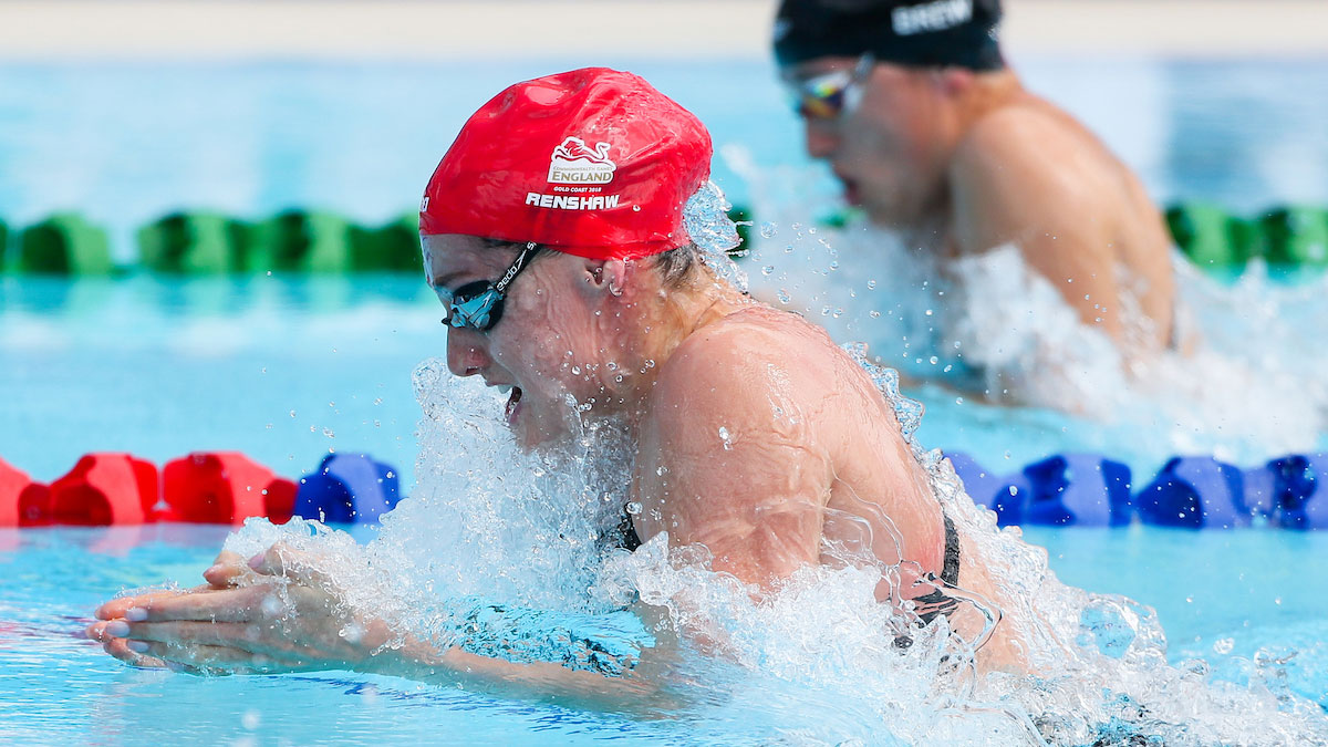 Molly Renshaw swimming breaststroke at the Gold Coast 2018 Commonwealth Games