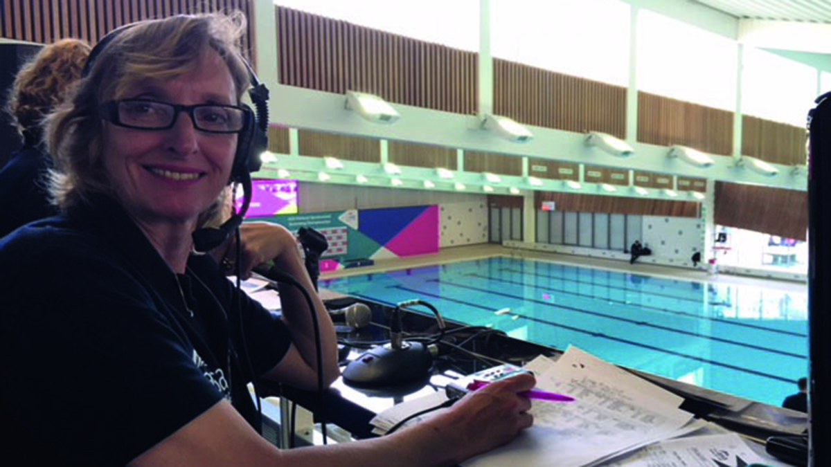 Helen Seamer commentating at another synchro event