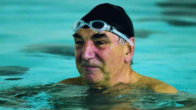 No sinking feeling for Jim Carter when synchronised swimming