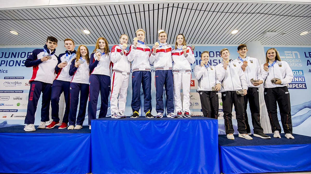 Great Britain's Mixed Medley Relay team won silver at the European Junior Swimming Championships 2018