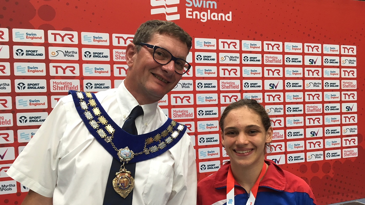 Anna Badescu with Swim England President Richard Whitehead