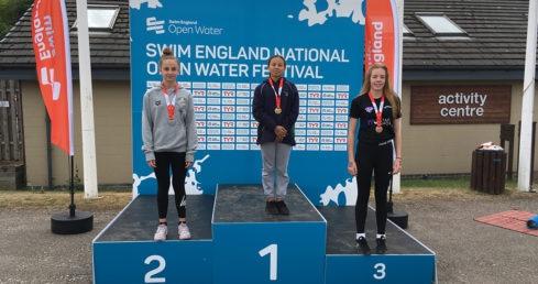 National Open Water Festival Girls 13 Years 2K race medallists