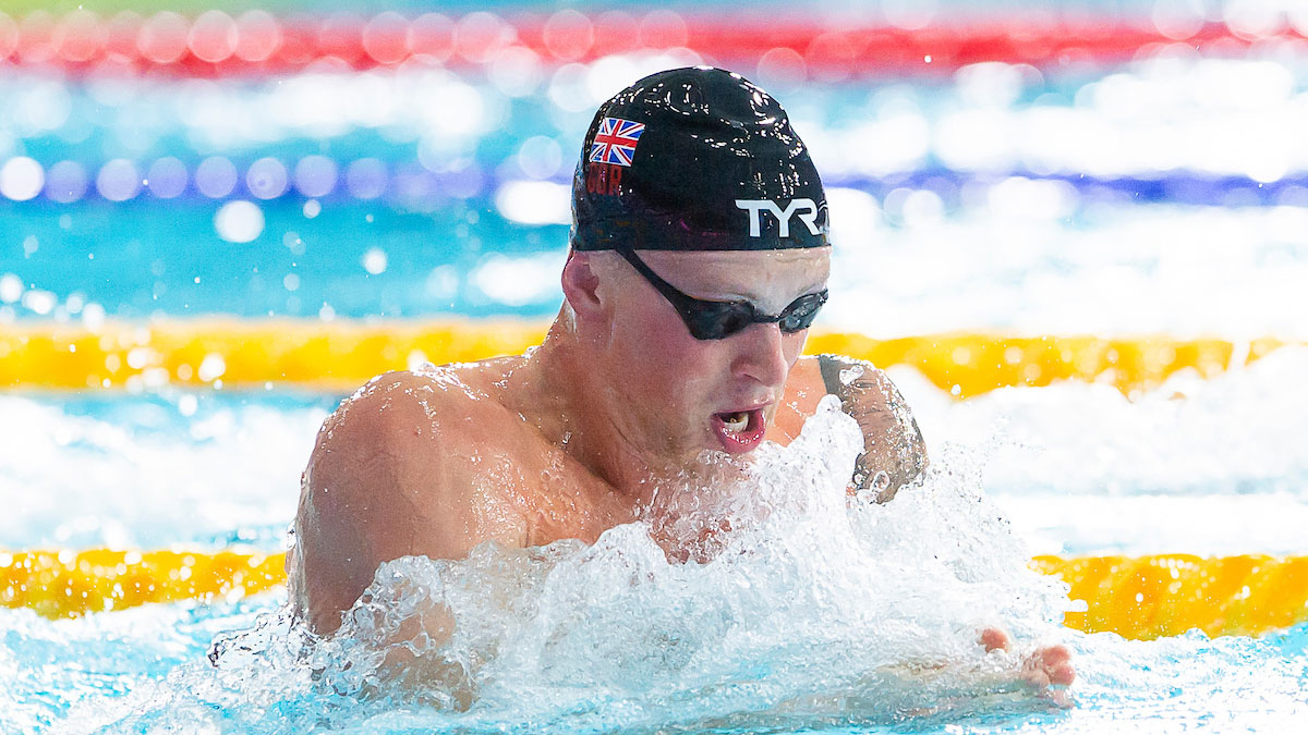 Adam Peaty swimming breaststroke at the European Championships 2018 in Glasgow