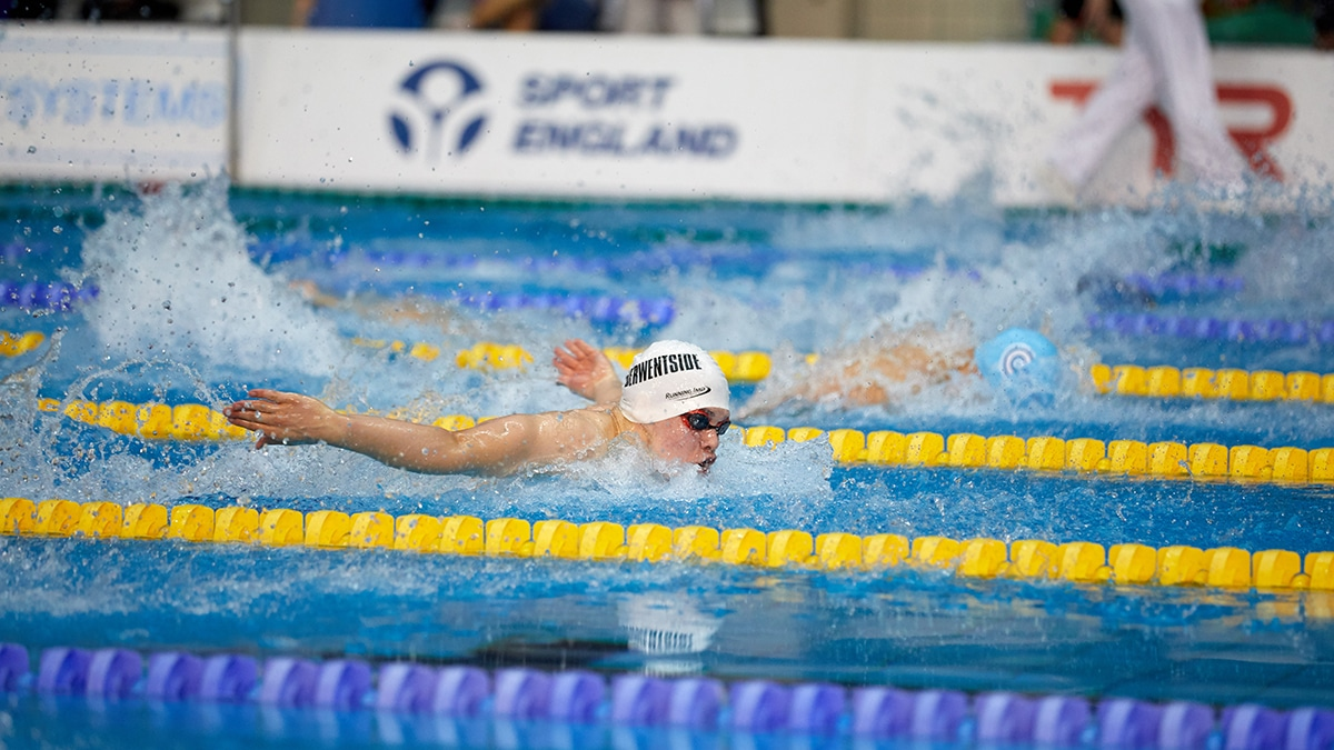 Daniel Morley won the gold medal in the 15 Years 100m Butterfly at the Swim England National Summer Meet 2018