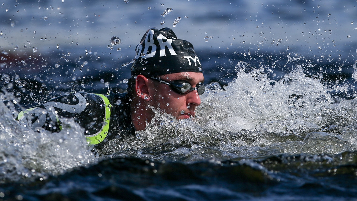 Jack Burnell competes in the Open Water race at the 2018 European Championships