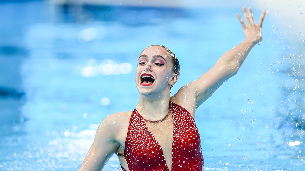 Kate Shortman competes in the solo technical final at the European Championships