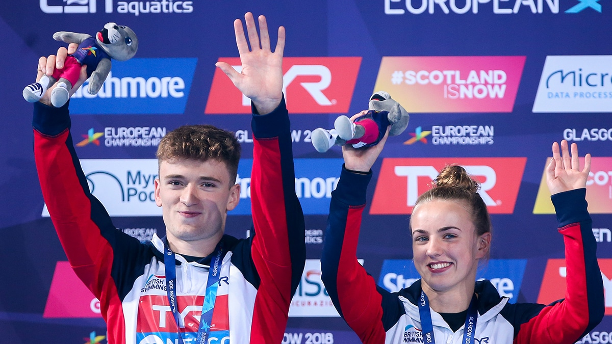 Matty Lee and Lois Toulson won a silver medal in the Mixed 10m Synchro at the 2018 European Championships