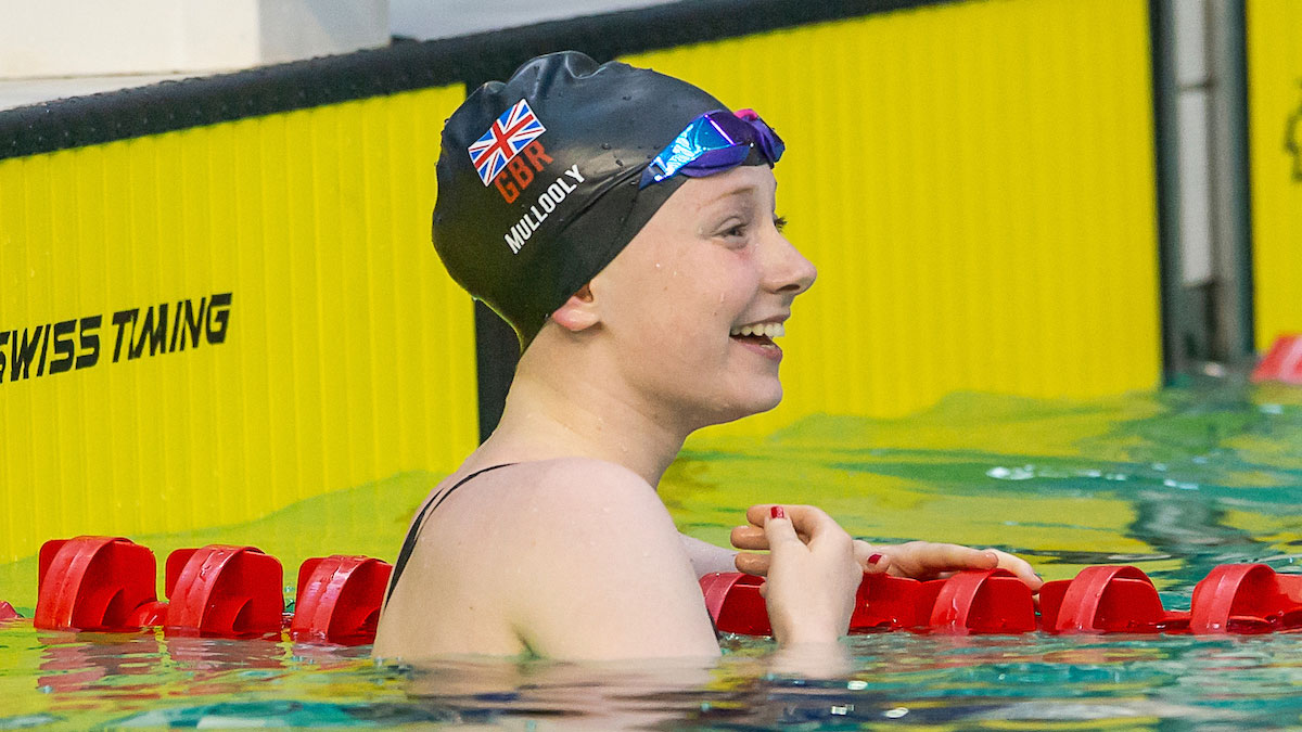 Zara Mullooly smiling after winning silver at the Para Swimming European Championships 2018 in Dublin