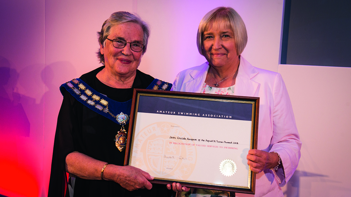 Jean Childs was presented with the Alfred H Turner Award by Swim England president Liz Sykes