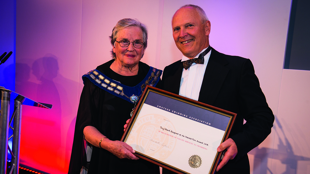 Tony Ward was presented with the Harold Fern Award by Swim England president Liz Sykes