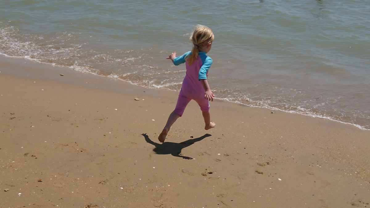 Mabel running in to the sea