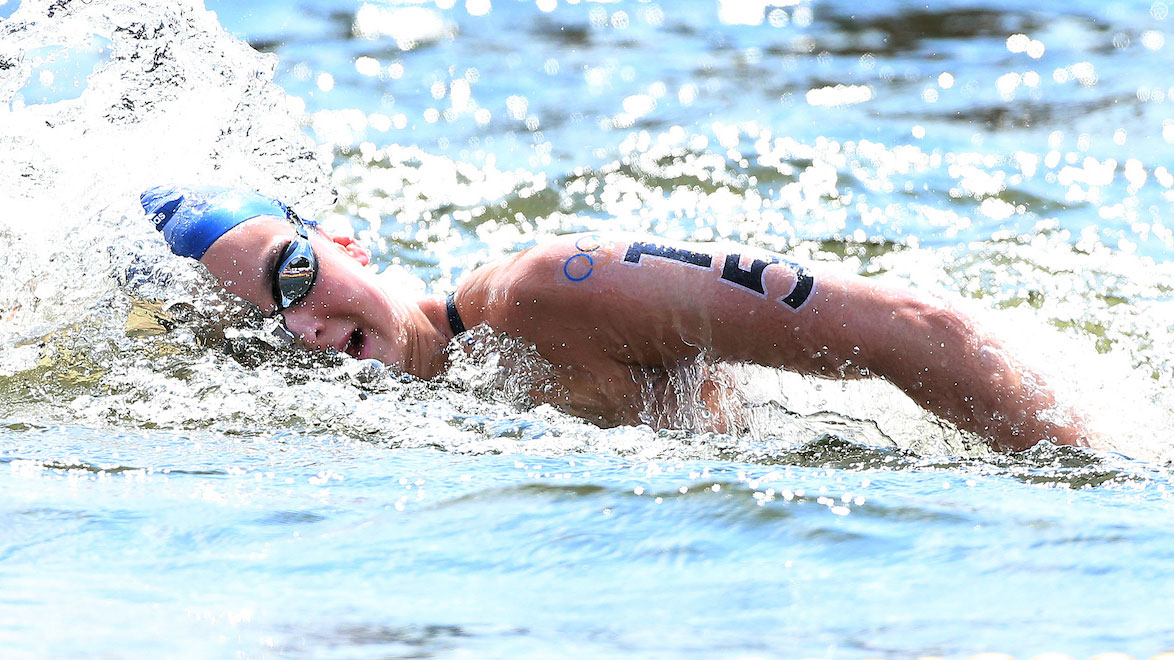 Keri-anne Payne competing in open water swimming at the London 2012 Olympics