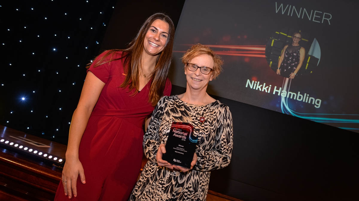 Nikki Hambling, the winner of the Swim England National Awards Adult Achievement winner, with Aimee Willmott