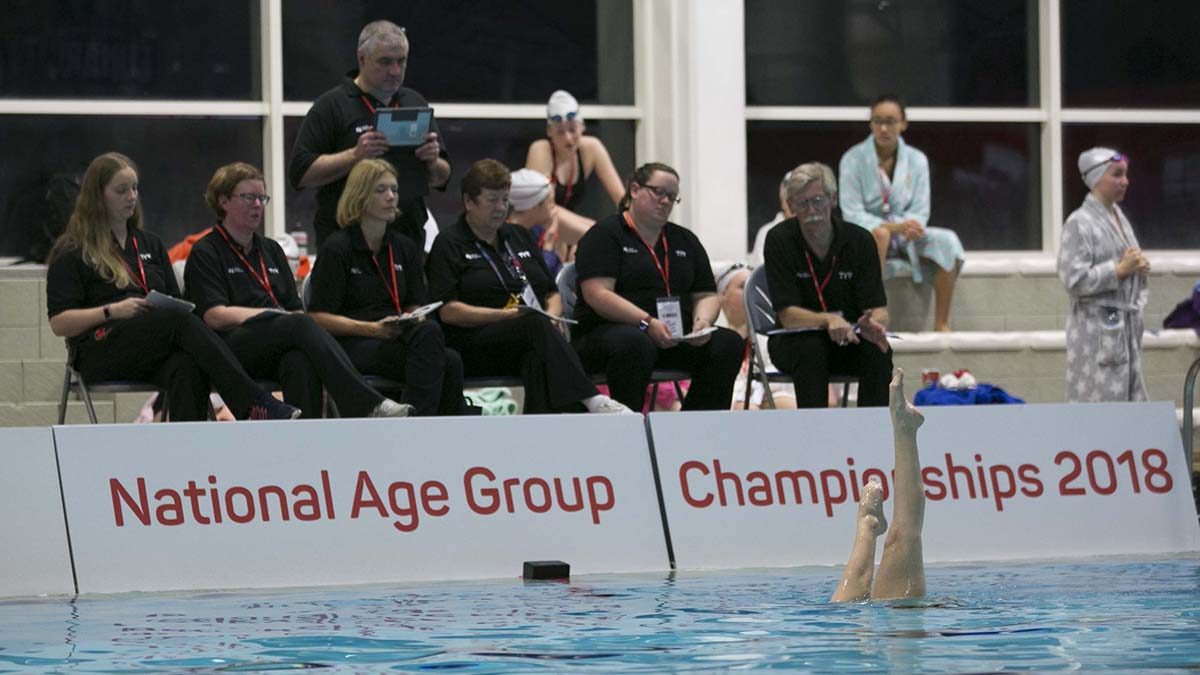 Action from the Swim England Synchronised Swimming National Age Group figures competition