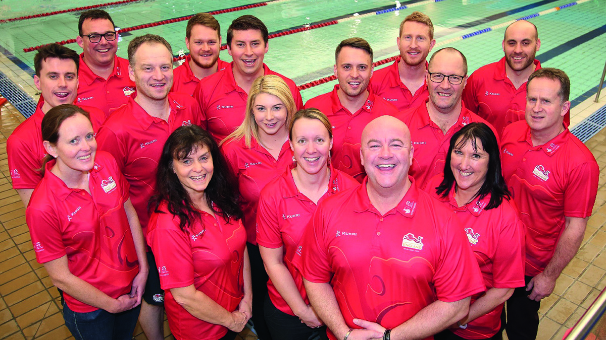 Grant Robins, back row far left, with his backroom team that supported the athletes at the 2018 Commonwealth Games