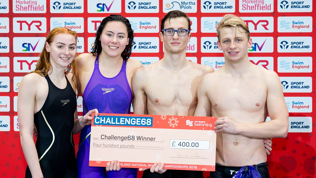 Mount Kelly's victorious Challenge68 team with their £400 cheque at the Swim England National Winter Championships